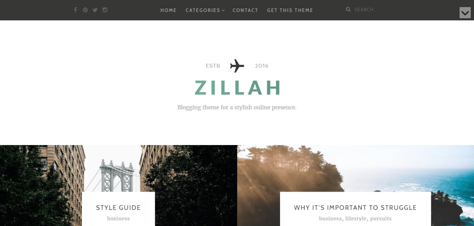 Zillah Free WordPress Travel Theme Screenshot
